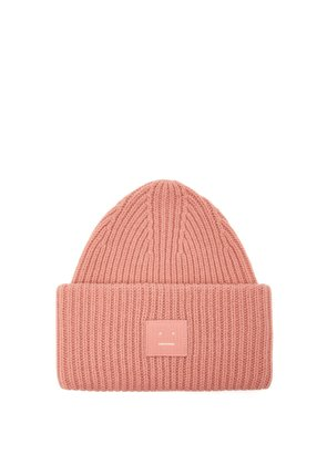 Pansy S Face ribbed-knit beanie hat