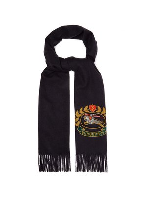 Crest-embroidered cashmere scarf