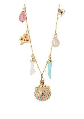 18kt gold charm necklace