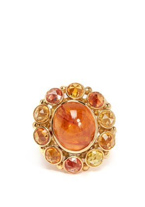 18kt gold, spessartite and sapphire ring
