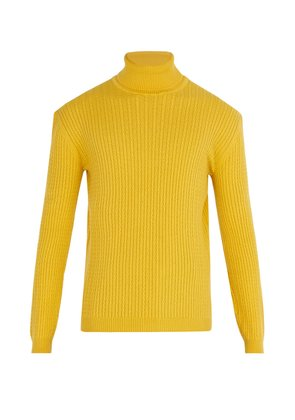 Cable-knit cashmere roll-neck sweater