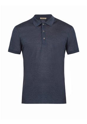 Contrast-collar silk-piqué polo shirt
