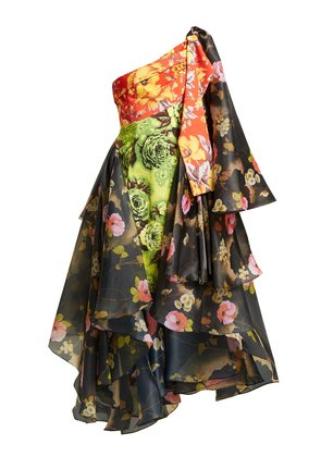 One-shoulder floral-print organza and canvas dress