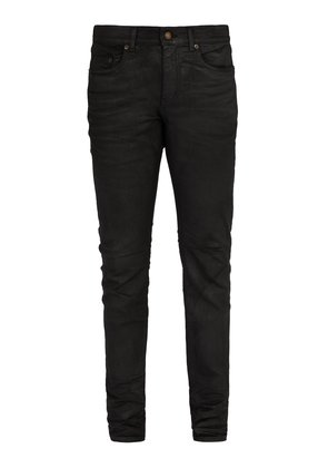 Waxed cotton-blend jeans