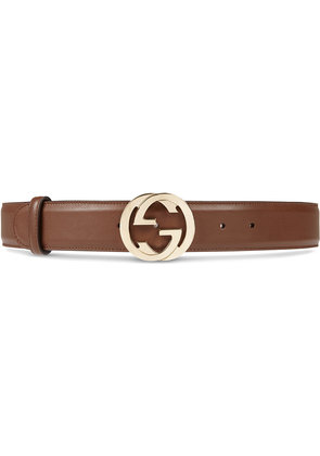 Gucci Leather belt with interlocking G buckle - Brown