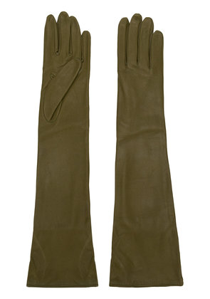 Erika Cavallini long leather gloves - Green