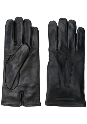 Emporio Armani embossed logo gloves - Black