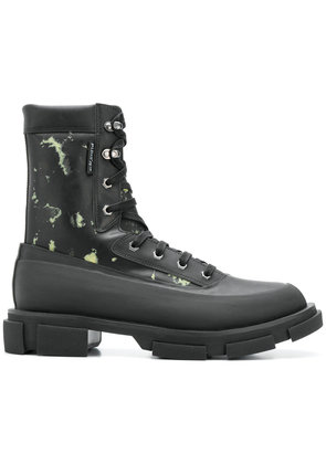 Both camouflage print ankle boots - Black