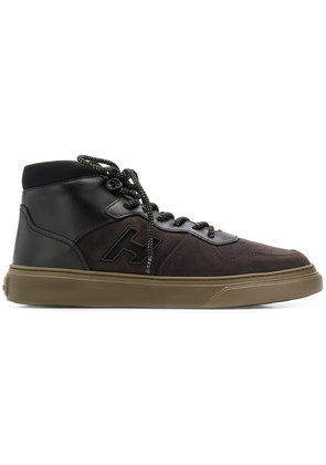Hogan logo patch high top sneakers - Brown