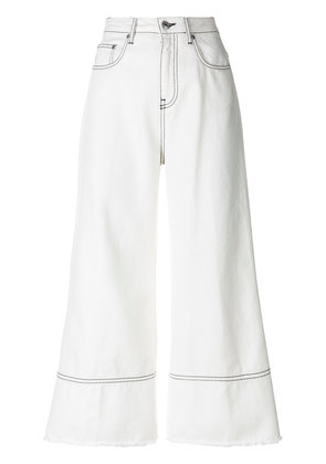MSGM cropped flare jeans - White