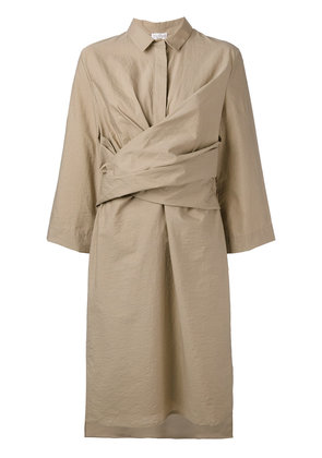 Brunello Cucinelli front wrap midi dress - Nude & Neutrals