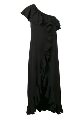 Ganni asymmetric ruffled dress - Black