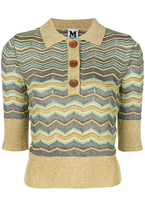 M Missoni lamé zig-zag polo shirt - Metallic