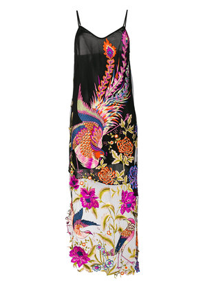 Yes Master long embroidered night-dress - Black