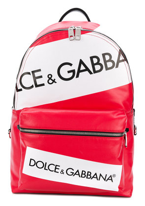 Dolce & Gabbana logo panelled backpack - Red