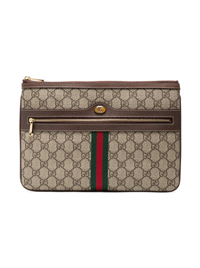 3efc681ef8c Gucci Brown Ophidia GG Supreme Leather Pouch