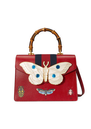 Gucci Leather top handle bag with moth - Red