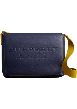 Burberry Large Two-tone Embossed Leather Messenger Bag - Blue