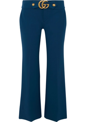 Gucci - Cropped Embellished Crepe Flared Pants - Midnight blue