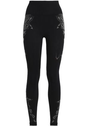 Lucas Hugh Woman Printed Tech-jersey Leggings Black Size XS