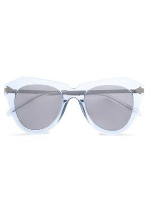 Karen Walker Woman D-frmae Acetate And Silver-tone Mirrored Sunglasses Sky Blue Size -