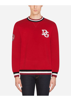 Dolce & Gabbana Sweaters - COTTON SWEATSHIRT WITH PATCH RED