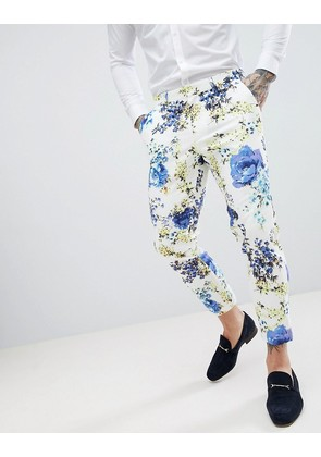 ASOS DESIGN Wedding Skinny Crop Suit Trousers In White Cotton Floral Print - White
