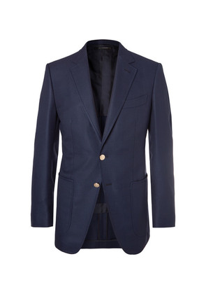 Navy O'connor Slim-fit Wool And Mohair-blend Hopsack Blazer