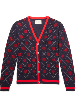 Gucci - Slim-fit Webbing-trimmed Wool-jacquard Cardigan - Navy