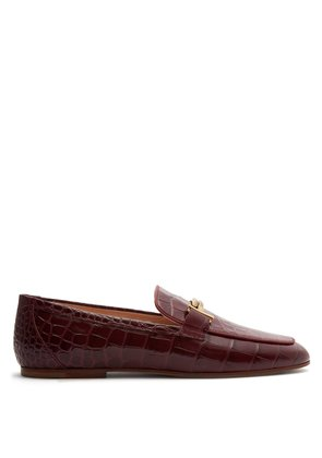 Crocodile-effect leather loafers