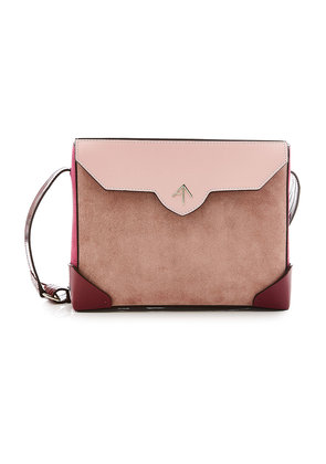 Manu Atelier Bold Shoulder Bag in Leather and Suede