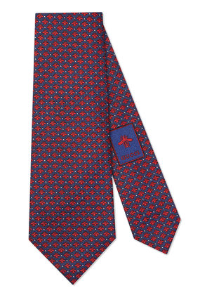 Gucci Bees and dots pattern silk tie - Blue