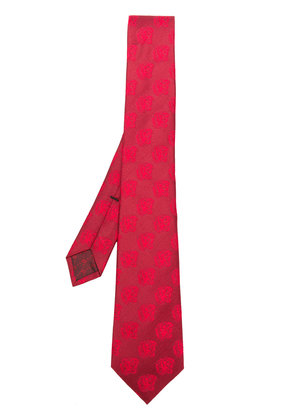 Gucci roaring tiger patterned tie - Red