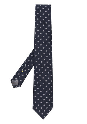 Canali cashmere dotted tie - Blue