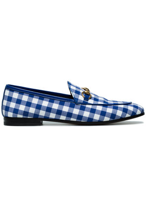 Gucci Blue Gingham Jordaan loafers