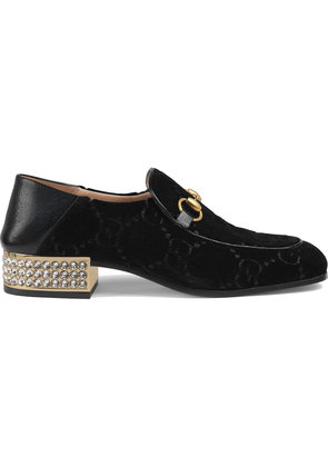 Gucci Horsebit GG velvet loafers with crystals - Black