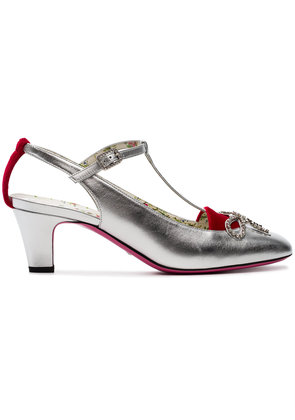Gucci Silver Anita 55 Velvet and Leather Pumps - Metallic