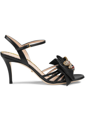 Gucci Leather mid-heel sandal with bow - Black