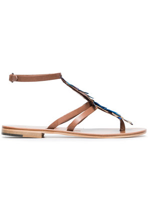 Álvaro Blue Ariana 15 feather and leather sandals
