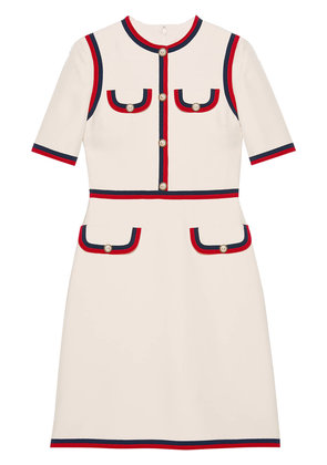 Gucci Wool silk dress with Web - White