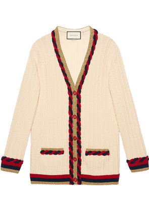 Gucci Cable knit cashmere wool cardigan - White