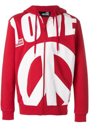 Love Moschino oversized slogan zipped front hoodie - Red