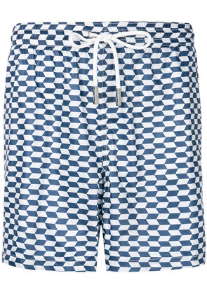 Eleventy geometric print swim shorts - Blue