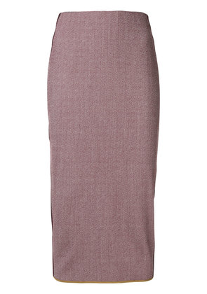 Victoria Beckham side stripe pencil skirt - Pink & Purple