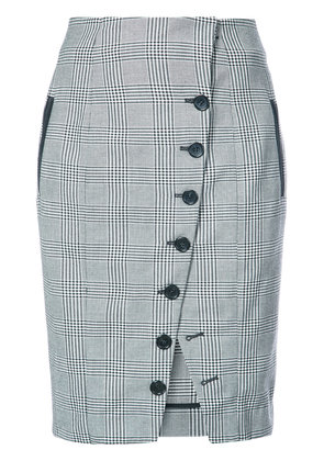 Fleur Du Mal plaid buttoned pencil skirt - Black