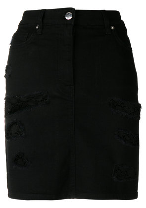 Love Moschino distressed lace detail skirt - Black