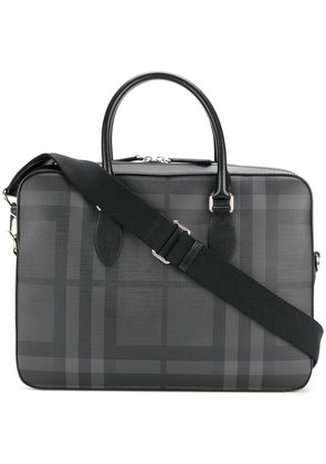 Burberry Medium Leather Trim London Check briefcase - Grey
