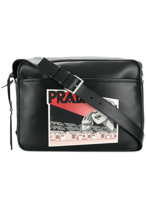 Prada comic logo-print shoulder bag - Black