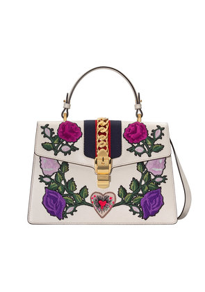 Gucci White Embroidered Sylvie Medium Tote bag