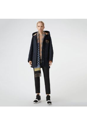 Burberry Lightweight Diamond Quilted Hooded Parka, Blue